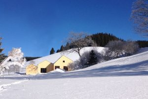 Blick auf den winterlichen Seilerhansenhof