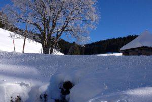 Blick auf den Bach und die Kapelle im Winter