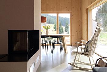 Wohn-/Essbereich mit Kamin und Ausblick